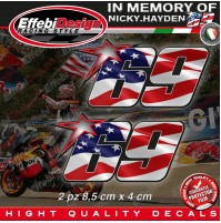 ADESIVI STICKERS 2 Pz 69 USA Flag Kentucky Kid Nicky Hayden In Memory H.QUALITY1
