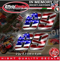 ADESIVI STICKERS 2 Pz 69 USA Flag Kentucky Kid Nicky Hayden In Memory H.QUALITY2
