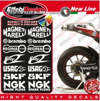 ADESIVI/DECALS DUCATI CORSE 999 749 PANIGALE SBK KIT SPONSOR FORCELLONE WEELS