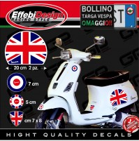 Adesivi Stickers kit VESPA BRITISH FLAG PIAGGIO GTS PX PRIMAVERA SPRINT ET3