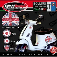 Adesivi Stickers kit VESPA BRITISH FLAG VINTAGE 70 YEARS PIAGGIO GTS PX ET3 ET4