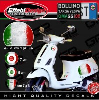 Adesivi Stickers kit VESPA PIAGGIO 70 YEARS FLAG VINTAGE ITALY BANDIERE GTS PX