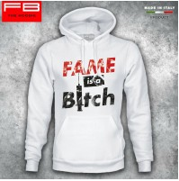 Felpa Hoodie FAME IS A BITCH Sex and Drugs Rock and Roll Cool Regalo Natale FB