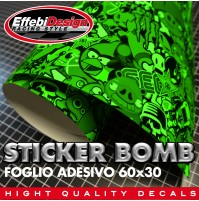 Foglio Adesivo STICKER BOMB VERDE 60cm x 30cm wrap auto moto cross casco ride