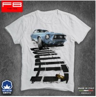T-Shirt Ford GT40 Mustang Bullit STEVE McQUEEN Guns RACING IS LIFE Film FB SLUB