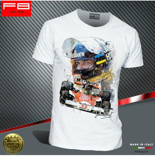 T-Shirt JAMES HUNT F1 World Champion McLaren MP4/3 1976 Art driver legend FB TEE