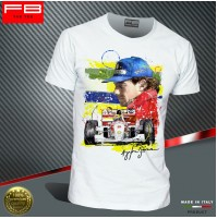 T-shirt AYRTON SENNA ART F1 World Champion Driver legend Williams Renault FB TEE